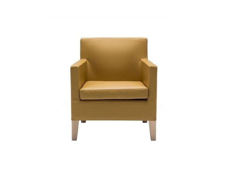 Leather armchair with armrests ANNA LOUNGE BU1397   Leather armchair by Andreu World