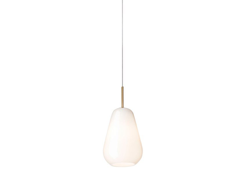 Blown glass pendant lamp ANOLI 1 SMALL OPAL by Nuura