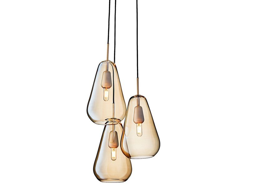 Blown glass pendant lamp ANOLI 3 by Nuura