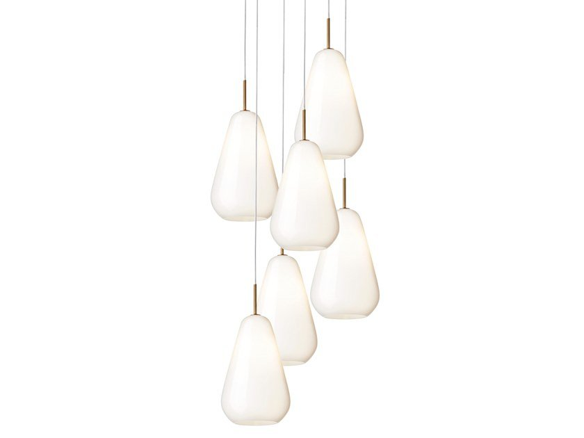Blown glass pendant lamp ANOLI 6 OPAL by Nuura