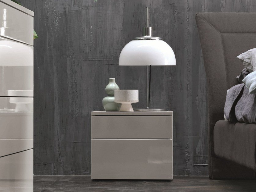 Melamine-faced chipboard bedside table with drawers ANTARES | Bedside table by Febal Casa