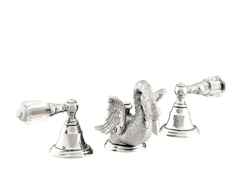 3 hole washbasin tap with Swarovski® crystals ANTARTICA SWAN | Washbasin tap with Swarovski® crystals by Bronces Mestre