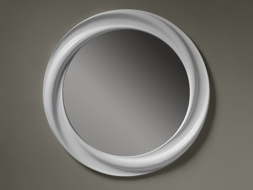 Round wall-mounted framed mirror ANTEA by ariannasoldati