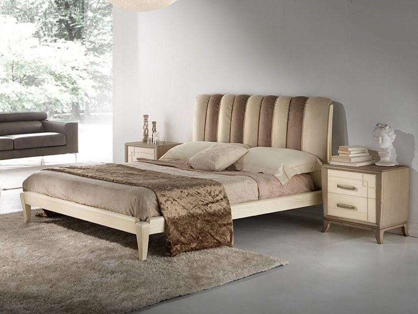 Imitation leather double bed with upholstered headboard ANTHEA | Bed by MOLETTA