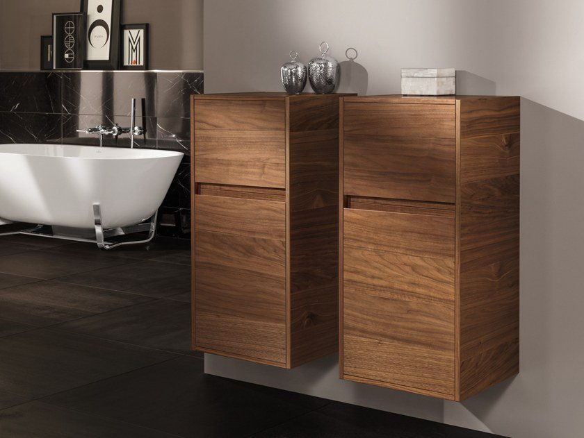 Suspended solid wood bathroom cabinet ANTHEUS by Villeroy & Boch