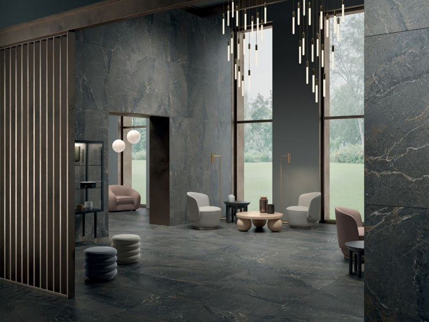 Indoor/outdoor porcelain stoneware wall/floor tiles with stone effect ANTHOLOGY - DARK by LEA CERAMICHE