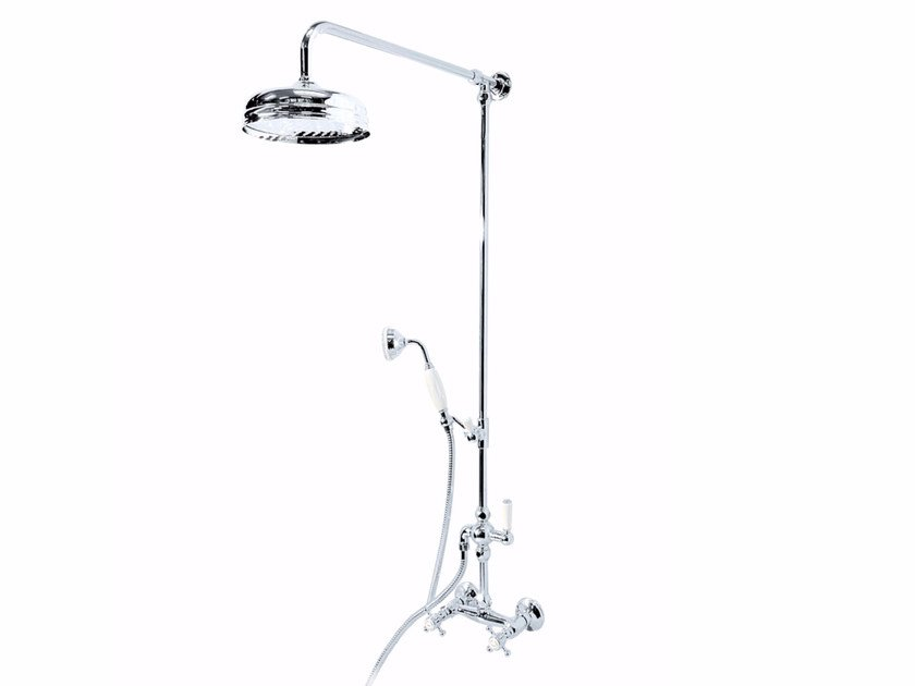 Wall-mounted metal shower panel with hand shower with overhead shower ANTIQUE | Shower panel by GENTRY HOME