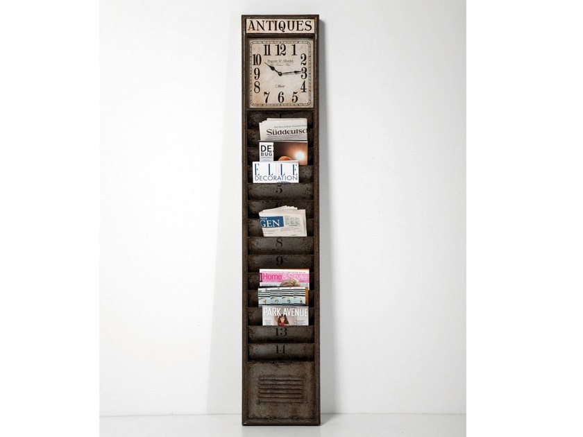 Steel clock / magazine rack ANTIQUE KONTOR by KARE-DESIGN