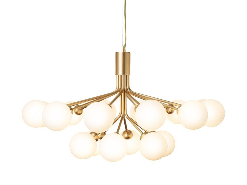 Glass pendant lamp APIALES 18 BRUSHED BRASS by Nuura