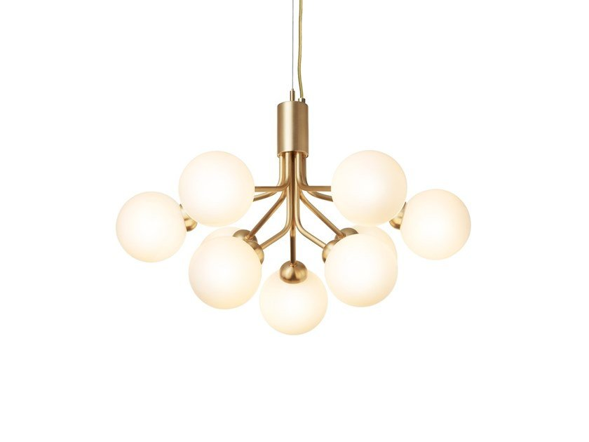 Glass pendant lamp APIALES 9 BRUSHED BRASS by Nuura