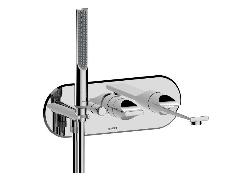 Wall-mounted bathtub mixer with hand shower APICE | Wall-mounted bathtub mixer by Bossini