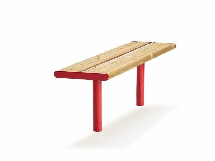 Backless steel and wood Bench APRIL | Backless Bench by VESTRE