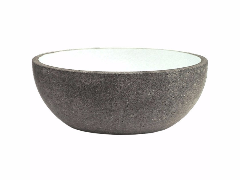 Countertop oval lava stone washbasin AQ2 by Made a Mano