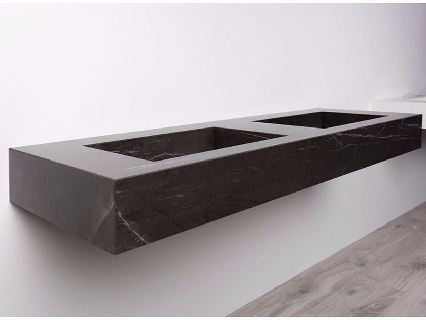 Double rectangular wall-mounted porcelain stoneware washbasin AQUA MAXIMUM | Double washbasin by GranitiFiandre