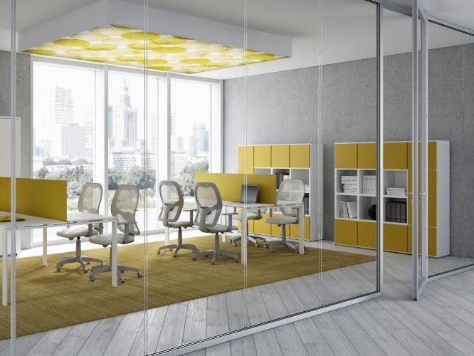 Acoustic glass office partition AQUARIUS DUO by CUF Milano