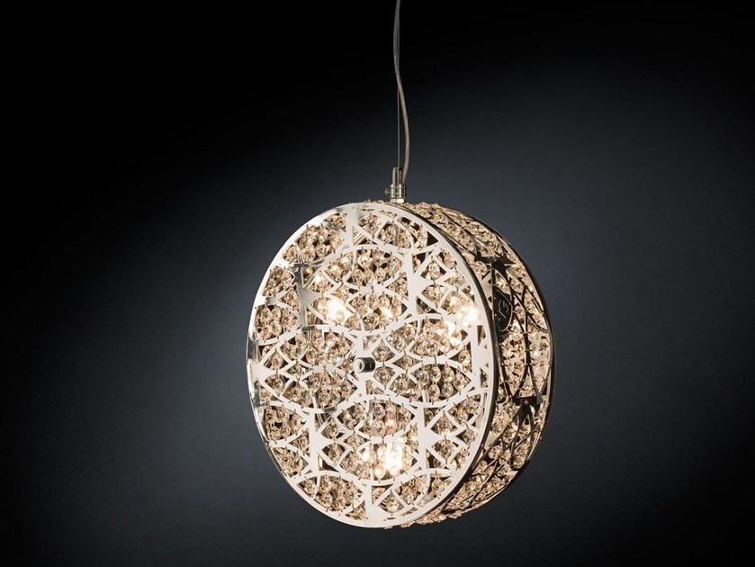 Steel pendant lamp with crystals ARABESQUE CILINDRO VERTICAL by VGnewtrend