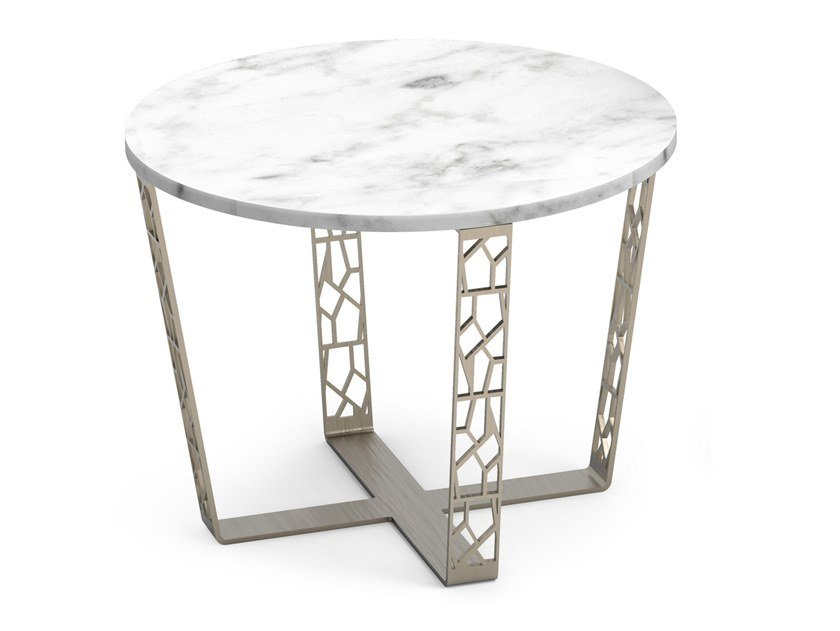 Tavolino rotondo in marmo Carrara e metallo ARABESQUE | Tavolino by ALBEDO