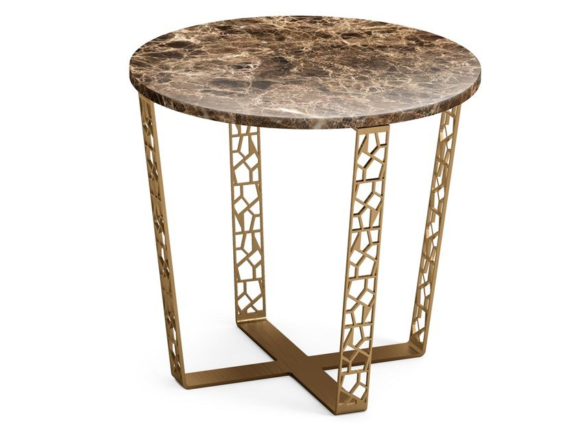 Round coffee table in Dark Emperador marble and metal ARABESQUE | Low coffee table by ALBEDO
