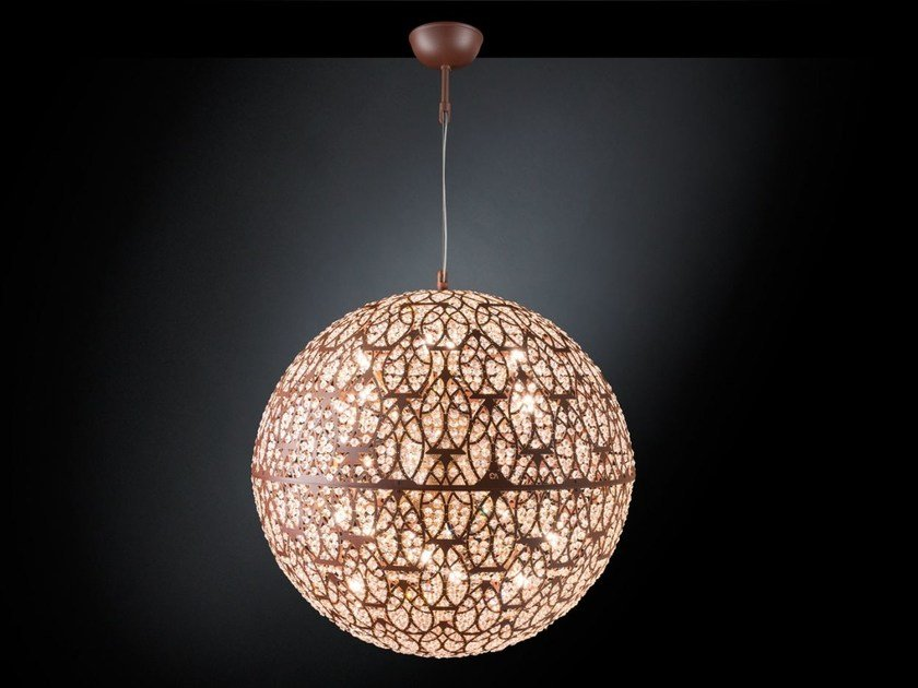 LED steel pendant lamp with crystals ARABESQUE EARTH by VGnewtrend