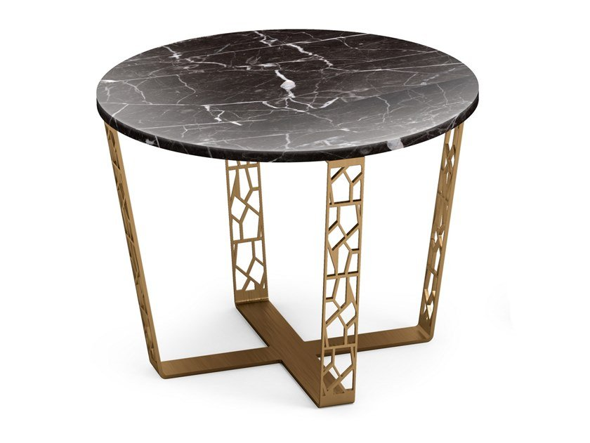 Round table in Nero Marquina marble and metal ARABESQUE | Marble coffee table by ALBEDO
