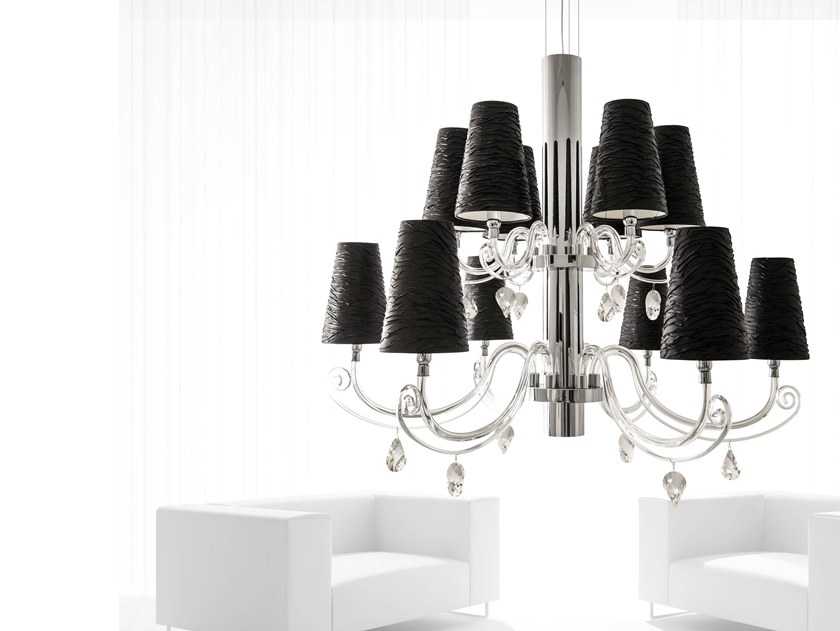 Crystal chandelier with Swarovski® Crystals ARABIAN PEARLS H12+1 | Chandelier with Swarovski® Crystals by ILFARI
