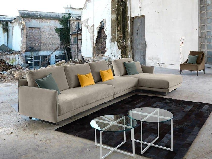 Fabric sofa with chaise longue ARAKI   Sofa with chaise longue by Domingo Salotti