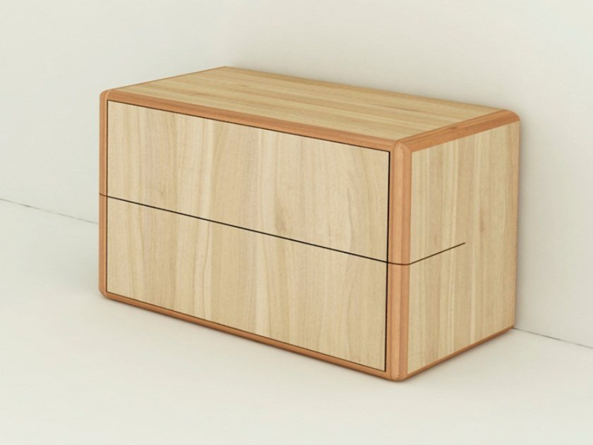 Rectangular wooden bedside table with drawers ARCA | Rectangular bedside table by WUDA