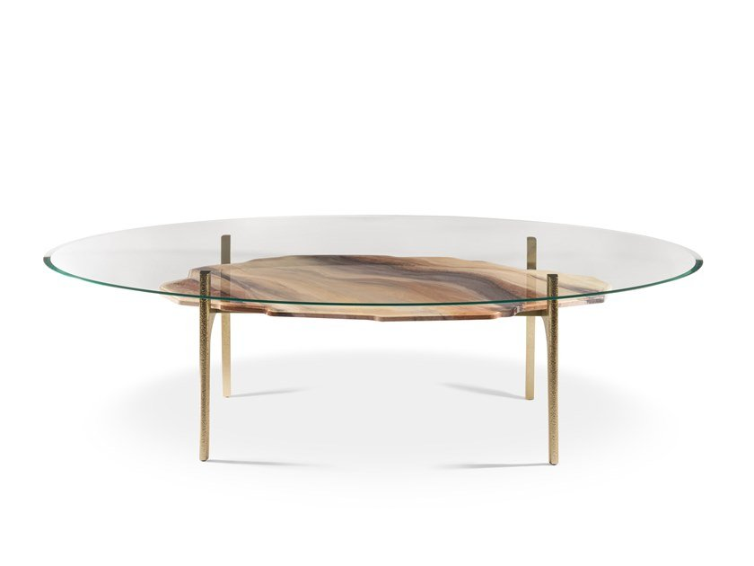 Oval tempered glass living room table ARKADY by Visionnaire