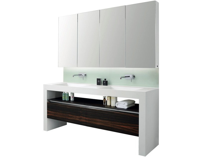 Double vanity unit with drawers with mirror ARCHE | Double vanity unit by Swiss Concepts