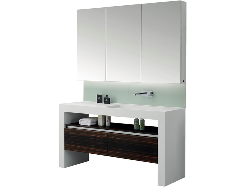 Single vanity unit with drawers with mirror ARCHE | Single vanity unit by Swiss Concepts