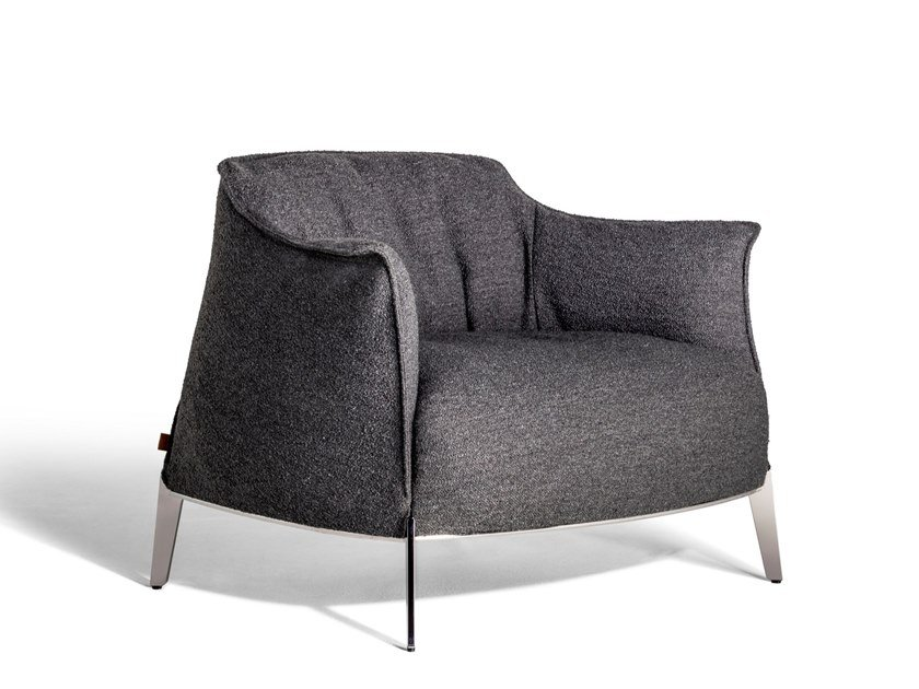 Fabric armchair with removable cover with armrests ARCHIBALD GRAN COMFORT   Fabric armchair by Poltrona Frau