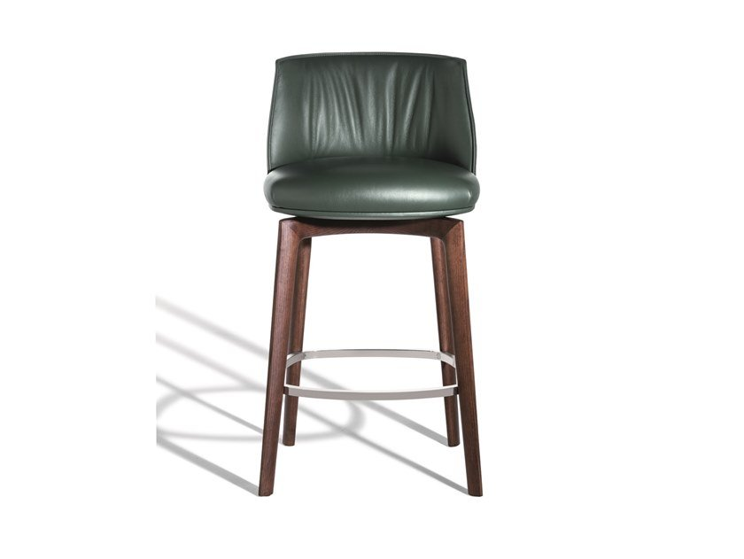 High upholstered leather stool with footrest ARCHIBALD | Leather stool by Poltrona Frau