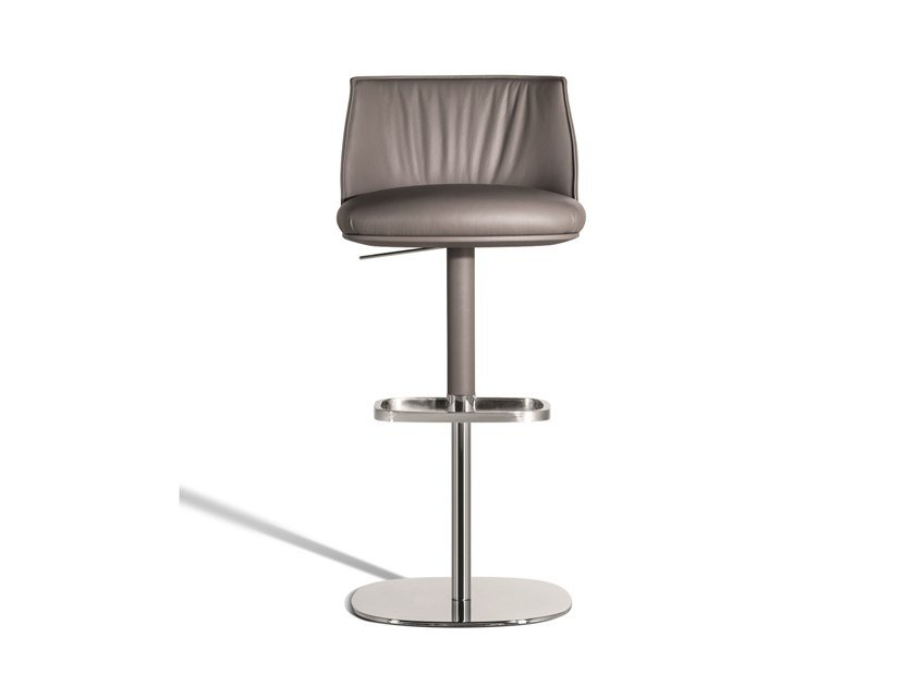 High height-adjustable leather stool with gas lift ARCHIBALD | Stool by Poltrona Frau