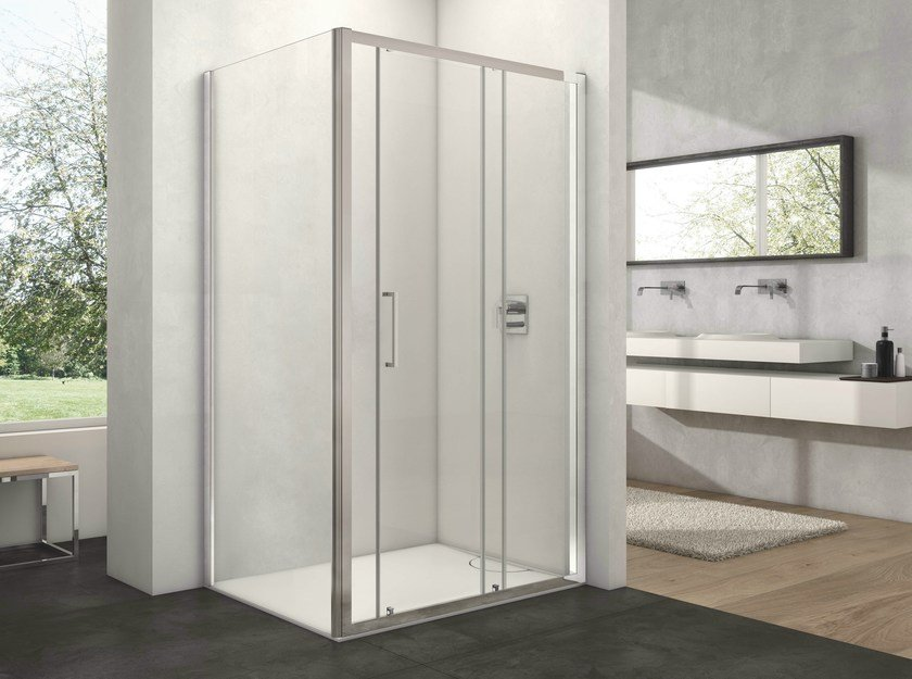 Glass shower cabin with sliding door ARCO AN + WD-1 by Provex Industrie