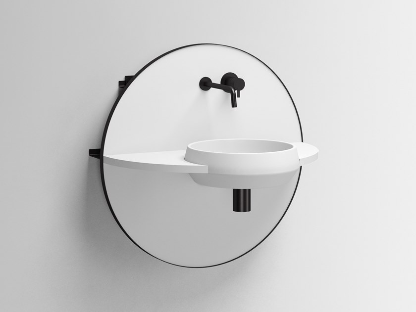 Wall-mounted Livingtec® console sink with mirror ARCO S by Ex.t