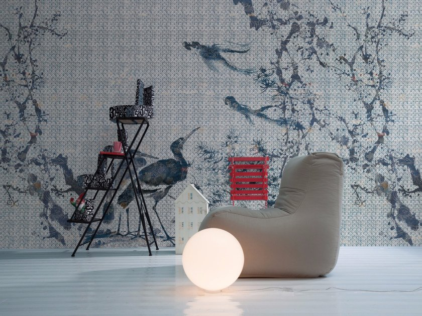Panoramic wallpaper with floral pattern ARDEIDA by Inkiostro Bianco