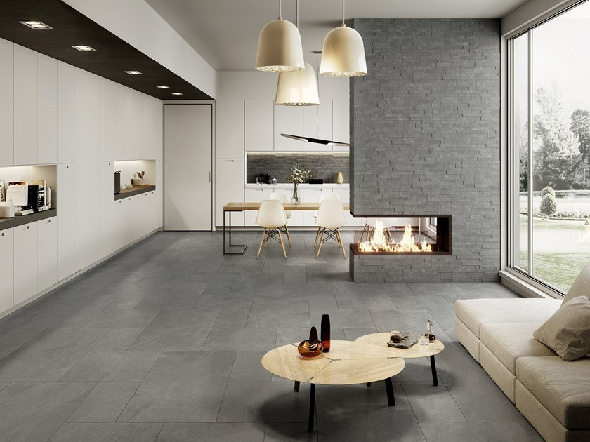 Pavimento in gres porcellanato effetto pietra per interni ed esterni ARDESIA CENERE by La Fabbrica
