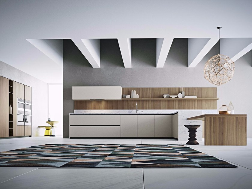 Lacquered kitchen with peninsula without handles AREA 22 | Kitchen with peninsula by DIBIESSE