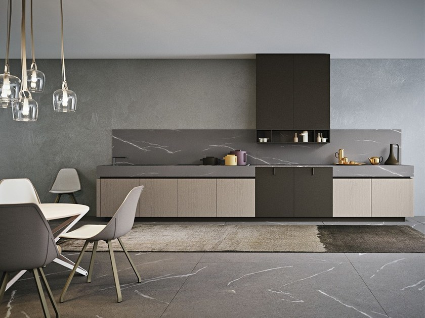 Lacquered kitchen without handles AREA 22   Kitchen without handles by DIBIESSE