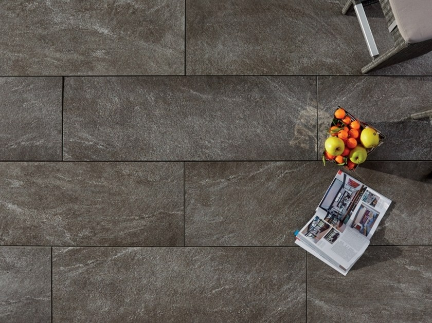 Pavimento per esterni effetto pietra arena ardesia grigia l