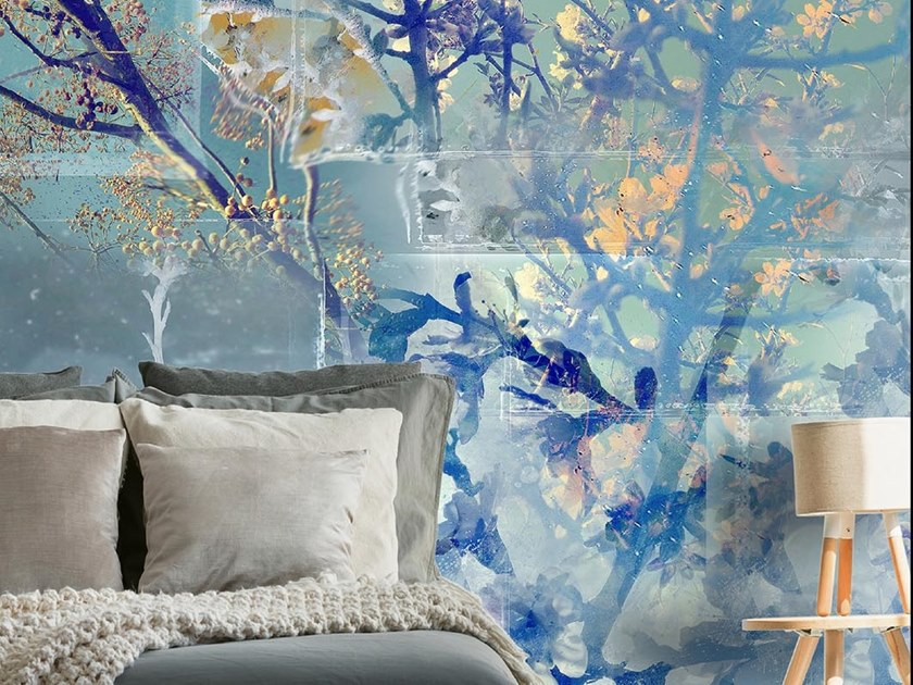Oriental wallpaper, PVC free, eco, washable Argento  fior di seta by Wallpepper