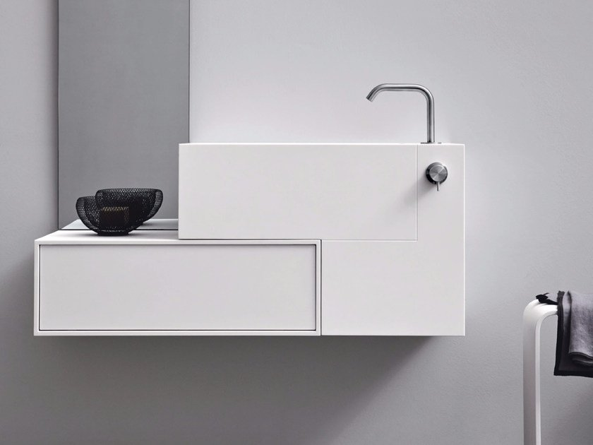 Wall-mounted Corian® washbasin ARGO | Wall-mounted washbasin by Rexa Design