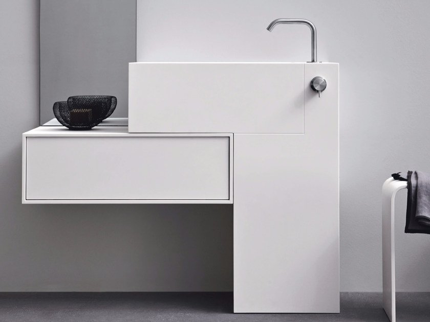 Rectangular Corian® washbasin with drawers ARGO UNICO | Washbasin by Rexa Design