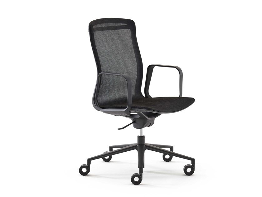 Height-adjustable mesh office chair with castors ARIA | Office chair with castors by ESTEL GROUP