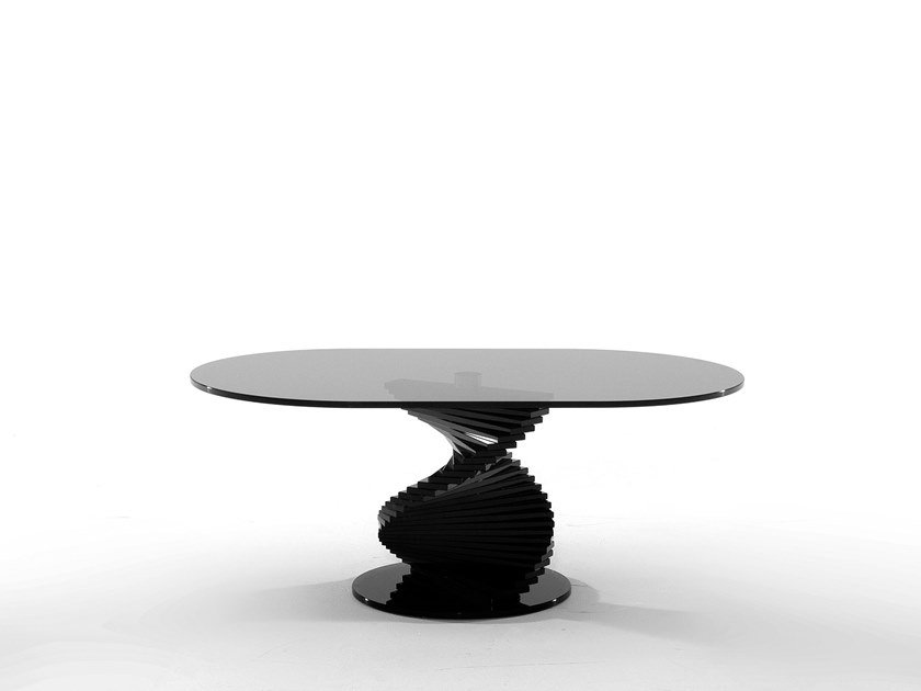 Oval glass coffee table ARIEL by Tonin Casa