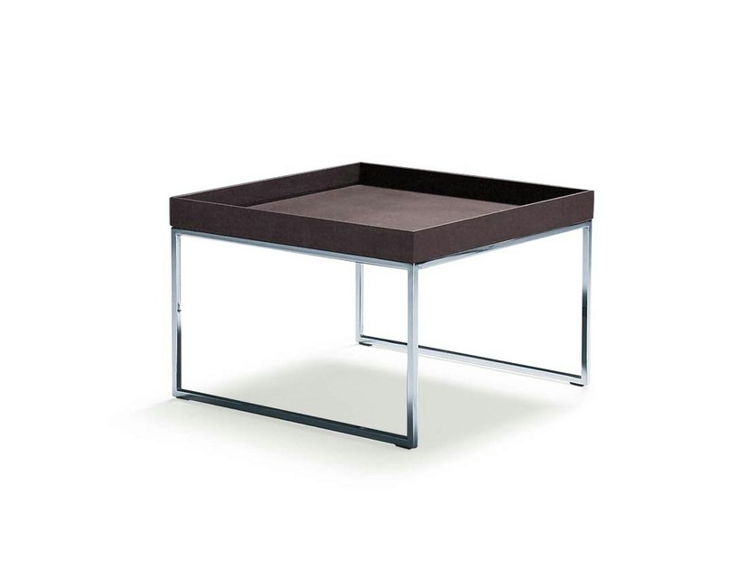 Steel and wood coffee table with tray ARIO | Coffee table by Frigerio Salotti