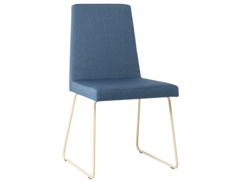 Sled base upholstered fabric chair with metal base ARISA SE01 BASE 20 by New Life