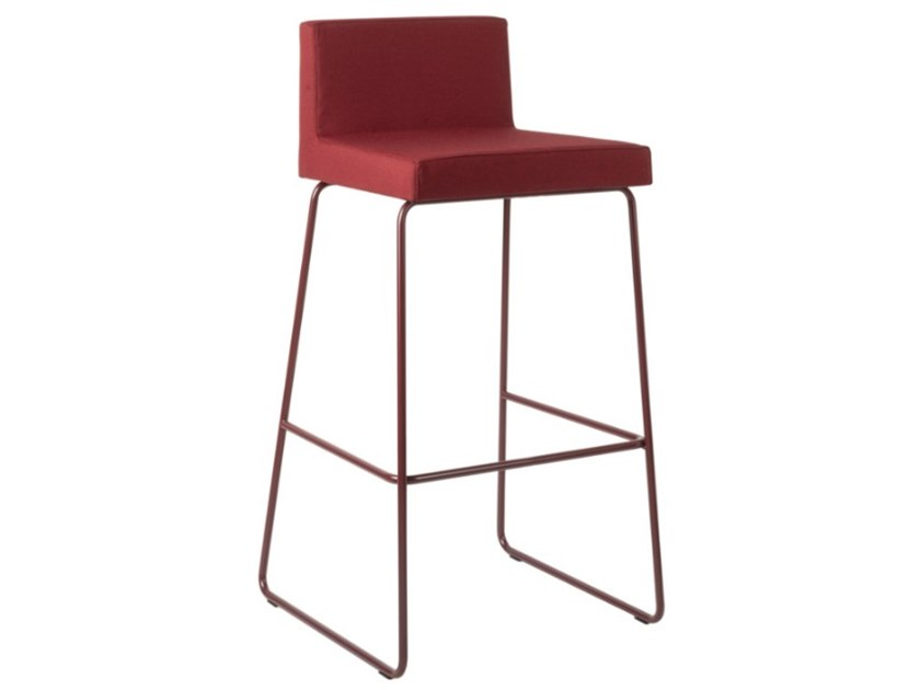 Sled base fabric stool with footrest and metal base ARISA SG01 BASE 20 by New Life