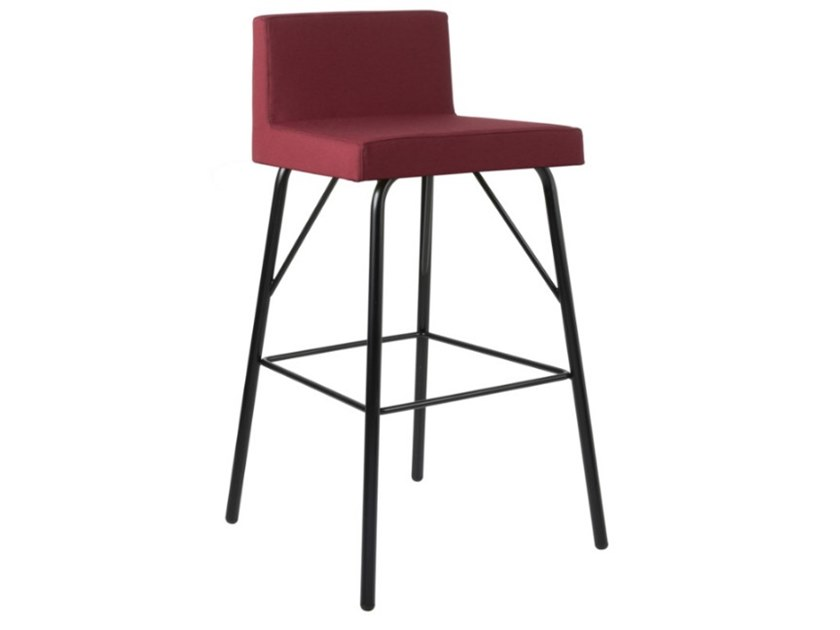 High fabric stool with footrest and metal base ARISA SG01 BASE 21 by New Life