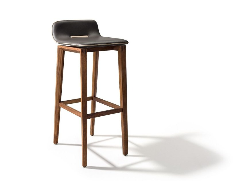 Leather barstool with footrest ARK | Leather stool by TEAM 7